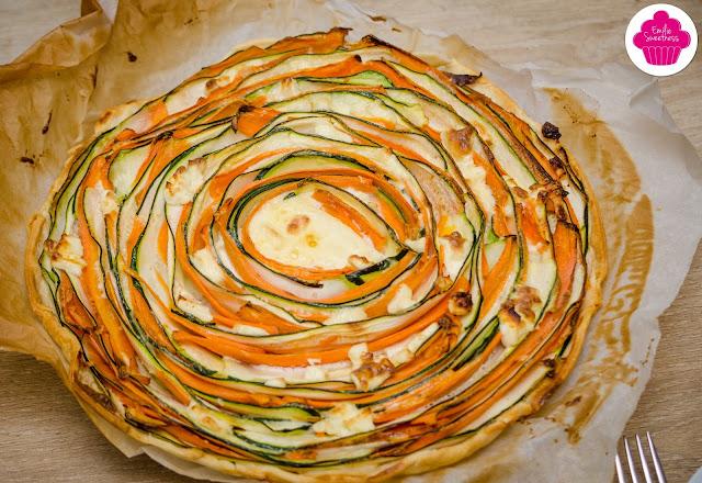 Tarte tourbillon de légumes - spirales de carottes, courgettes et feta - Emilie Swettness