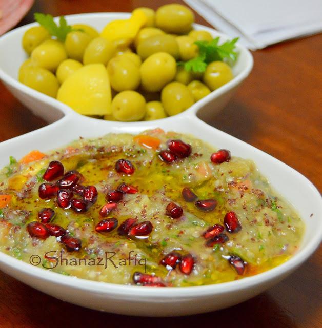 Eggplant Dip, Babaganosh, Arabic Dip, Appetizer, Mezze Platter