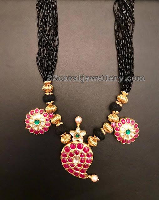 Black Thread Necklace with Mango Pendant