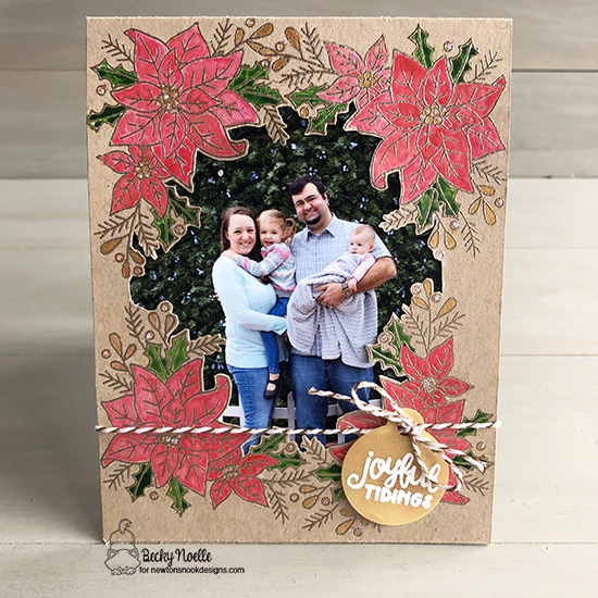 Joyful Tidings by Becky features Poisettia Blooms and Tags Times Two by Newton's Nook Designs; #newtonsnook