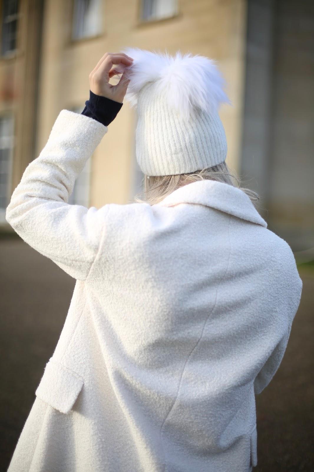 faux fur Double Pom Beanie Hat