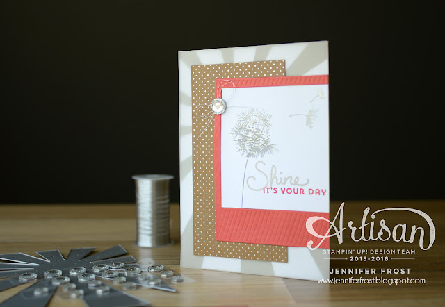 Shine On DSP, Balloon Celebrations, Sunburst Sayings, Stampin' Up! Artisan Blog Hop, Papercraft by Jennifer Frost