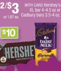 Hershey XL bar 4-4.5 oz or Cadbury bars 3.5