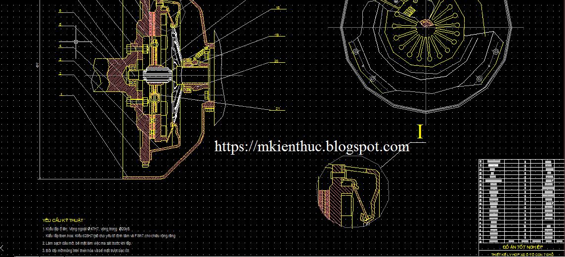 Bản vẽ chi tiết thiết kế ly hợp ô tô con 7 chỗ