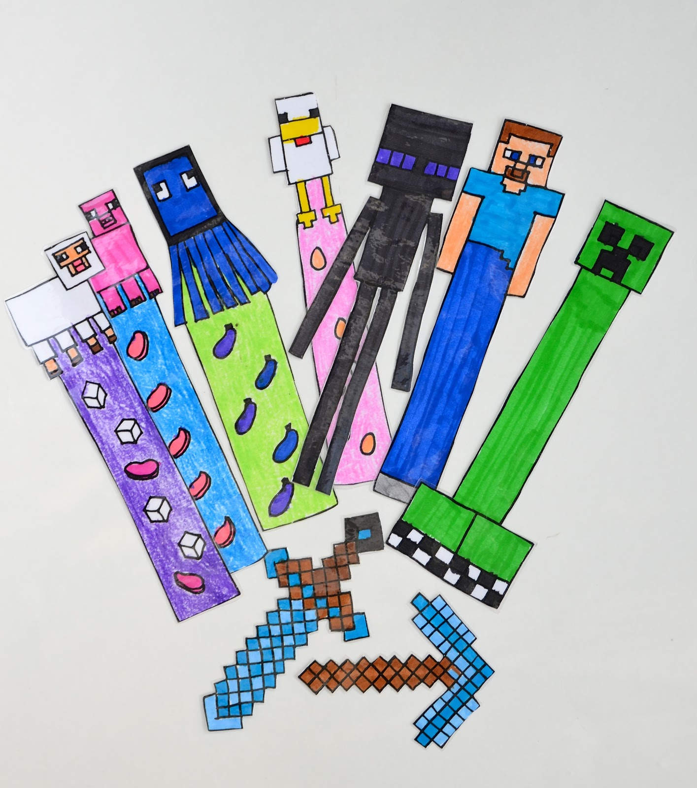 Minecraft bookmarks free colouring pages for Minecraft bookmark template