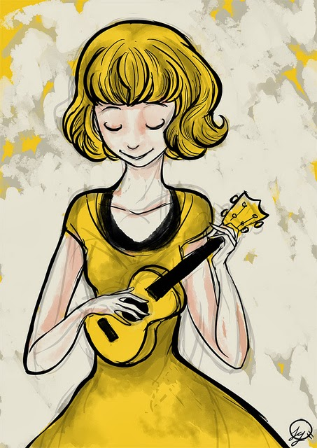 A cartoon woman in a yellow dress plays a yellow ukulele.