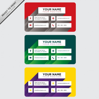 Contoh Kartu Nama - Red Green Yellow Business Card Designs