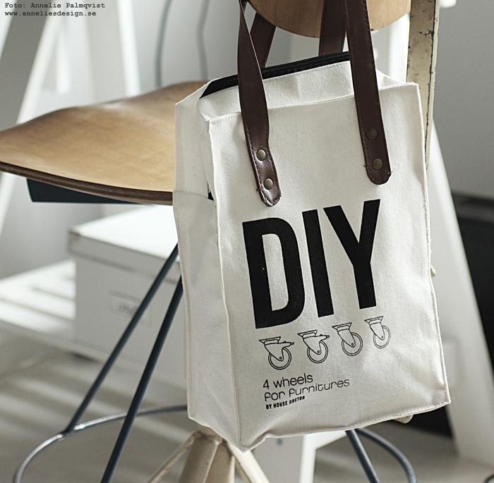 annelies design, webbutik, webshop, nätbutik, nettbutikk, inredning, diy hjul, house doctor, diy, bag, förpackning, väska, vitt, gör det själv, soffbord, avlastningsbord, arkivskåp, arbetsrum, hemmakontor,