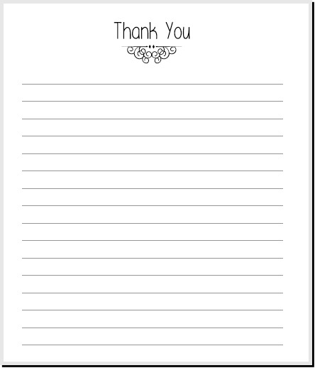 Simple Thank You Note Printable  Planner Fun