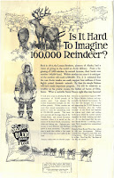 "An advertisement from Fisher's Flouring Mills Company that has the headline ""Is It Hard to Imagine 160,000 Reindeer?"" and has a drawing of a reindeer herd, an Inuit herder, a dog-sled team, and a bag of flour."