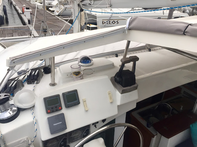 Helm station and hard top on a Lagoon 380 sail catamaran