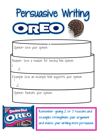 Our Cool School Persuasive Writing OREOupdated with