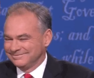 Tim Kaine vice presidential debate arrogant smile grin