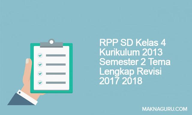 RPP SD Kelas 4 Kurikulum 2013 Semester 2 Tema Lengkap Revisi 2017 2018