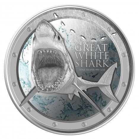 New Zealand Numismatics 2012 Great White Shark 1oz Silver 999 Coin From New Zealand Mint