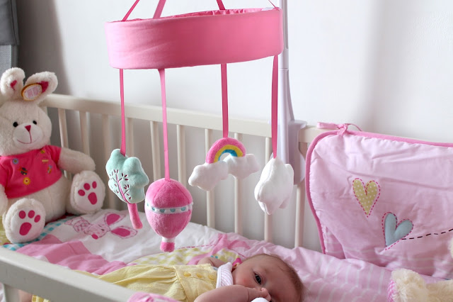 up and away dunelm pink cot mobile with clair de lune lottie and squeek bedding set