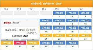Giá vé máy bay Thanh Hóa về Hồ Chí Minh tháng 4