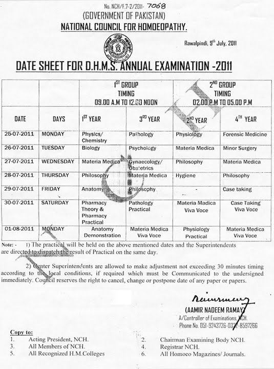 alrahim: Date Sheet For DHMS Annual Examination-2011