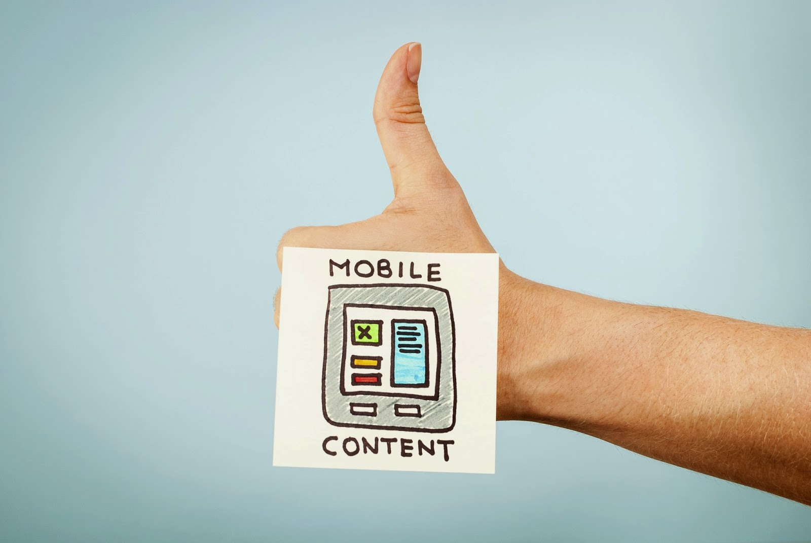 Thumbs up to an illustration of mobile content