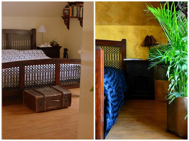 Farba o efekcie rosy - złota ściana & sypialnia w kolonialnym stylu.