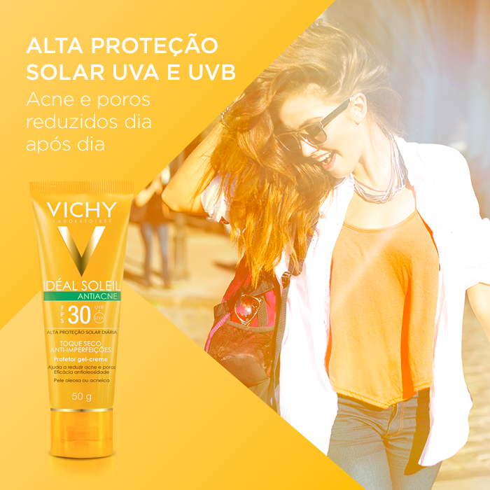 Teste gratuitamente o protetor solar facial  Vichy Idéal Soleil Antiacne
