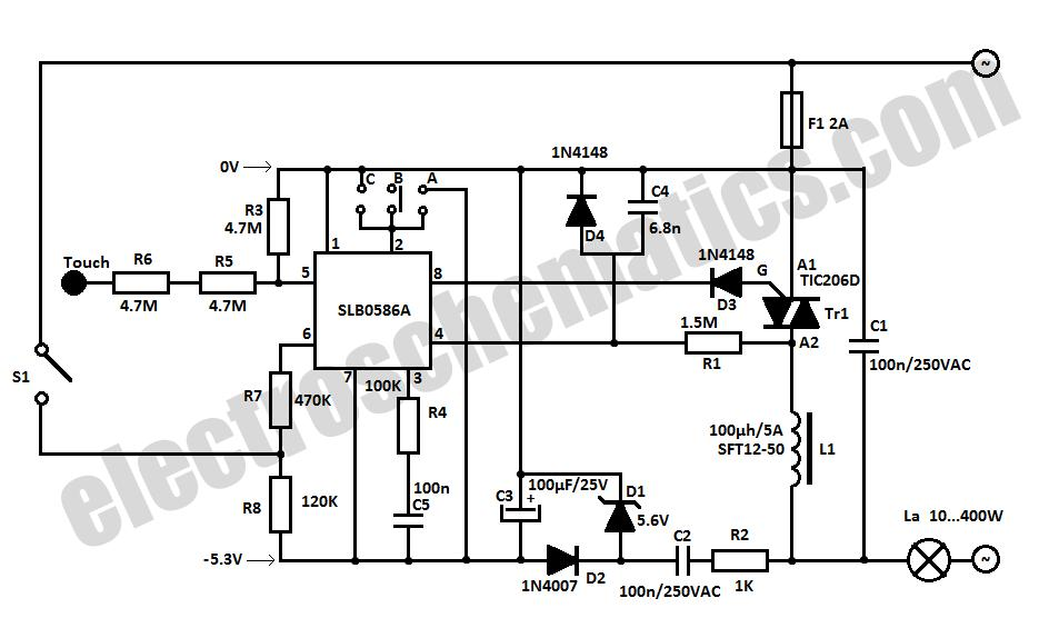 simple light dimmer diagram light dimmer switch wiring house tuch sensitive light dimmer circuit | electronic circuits free