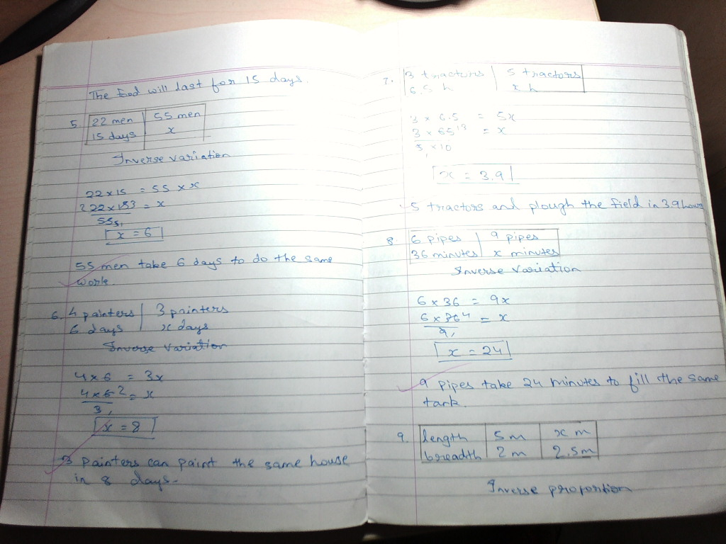 Grade 8 Direct And Inverse Variation Surface Area And