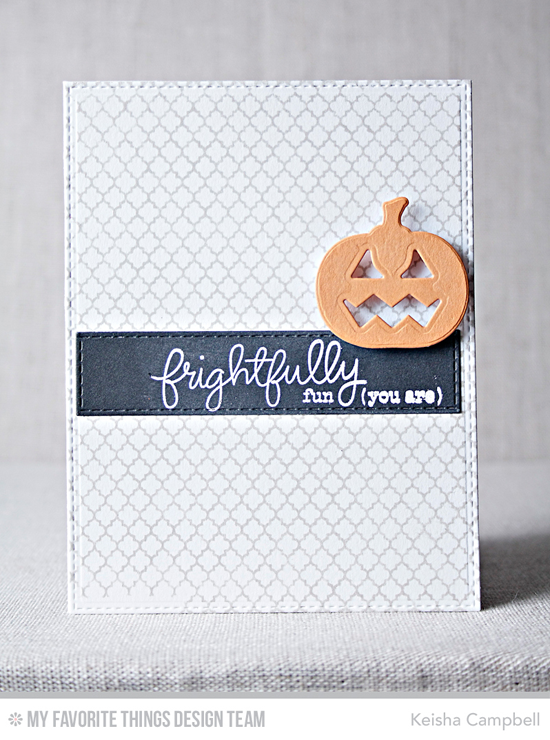 Handmade card from Keisha Campbell featuring Frightfully Fun stamp set, Moroccan Lattice Background stamp, and Horizontal Stitched Strips and Lisa Johnson Designs Spooky Sweets Die-namics #mftstamps