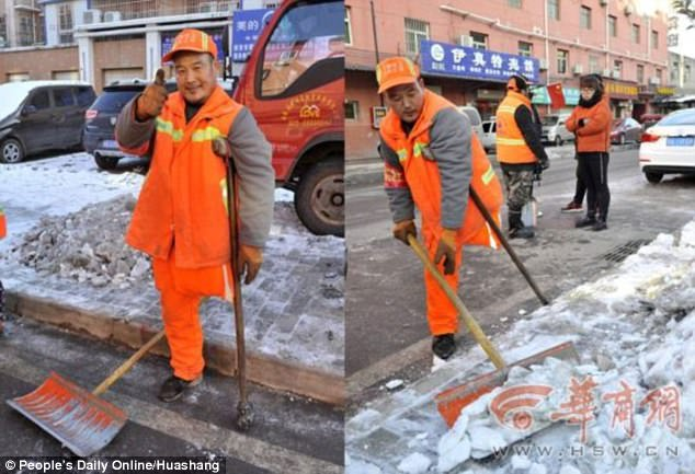 One-legged road cleaner who is also deaf and mute works 4am shifts for 12 years despite his disabilities (and he's NEVER taken a day off)