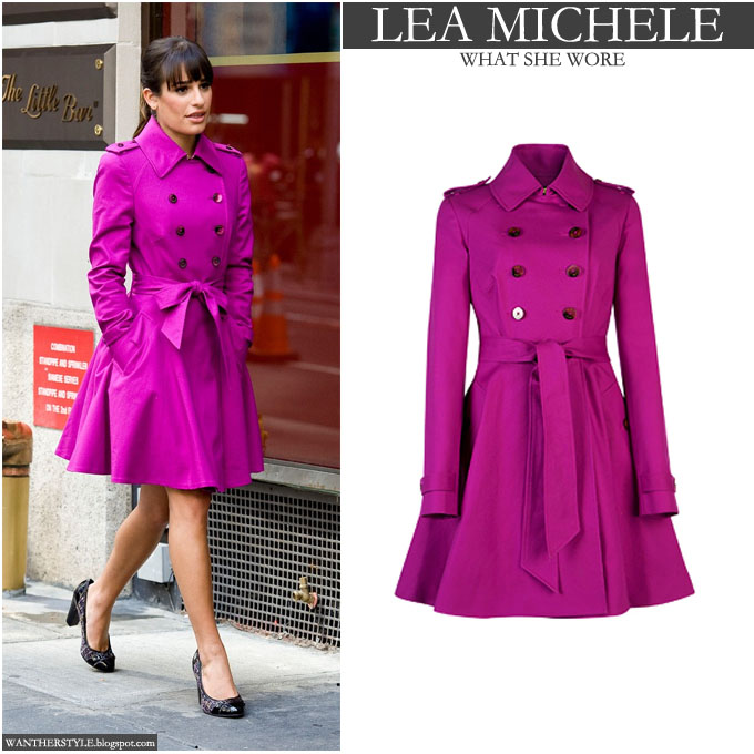 Lea Michele on the set of Glee season 5 in hot pink fuchsia Ted Baker trench 09f5a10588
