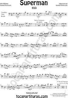 Trombón, Tuba Elicón y Bombardino Partitura de Superman Sheet Music for Trombone, Tube, Euphonium Music Scores (tuba en 8ª baja)