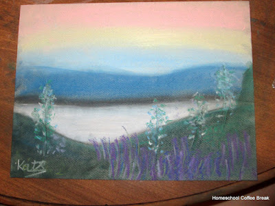 Peaceful Lake on the Virtual Refrigerator art link-up hosted by Homeschool Coffee Break @ kympossibleblog.blogspot.com #art  #VirtualFridge