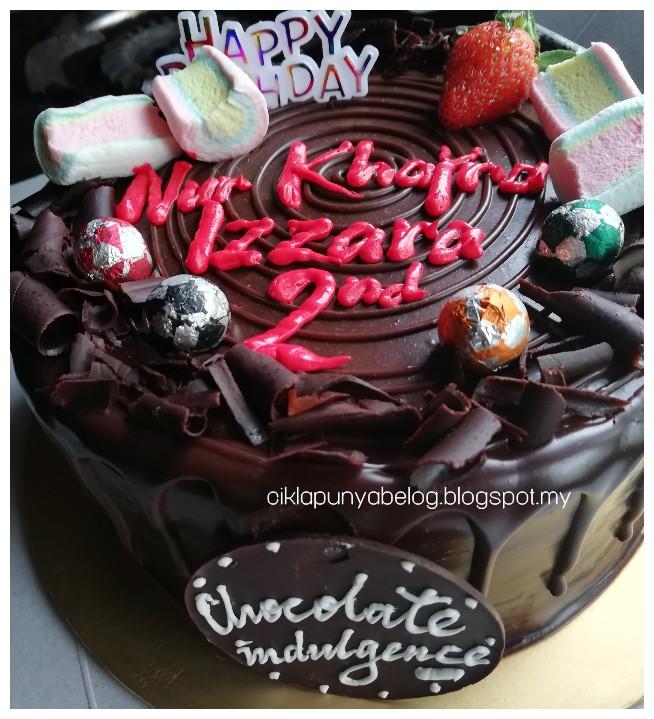 Chocolate Indulgence Cake, kek harijadi untuk adik Zara.