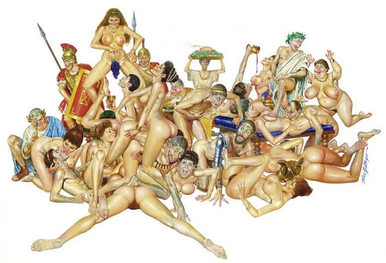 Caricatura de una orgía romana