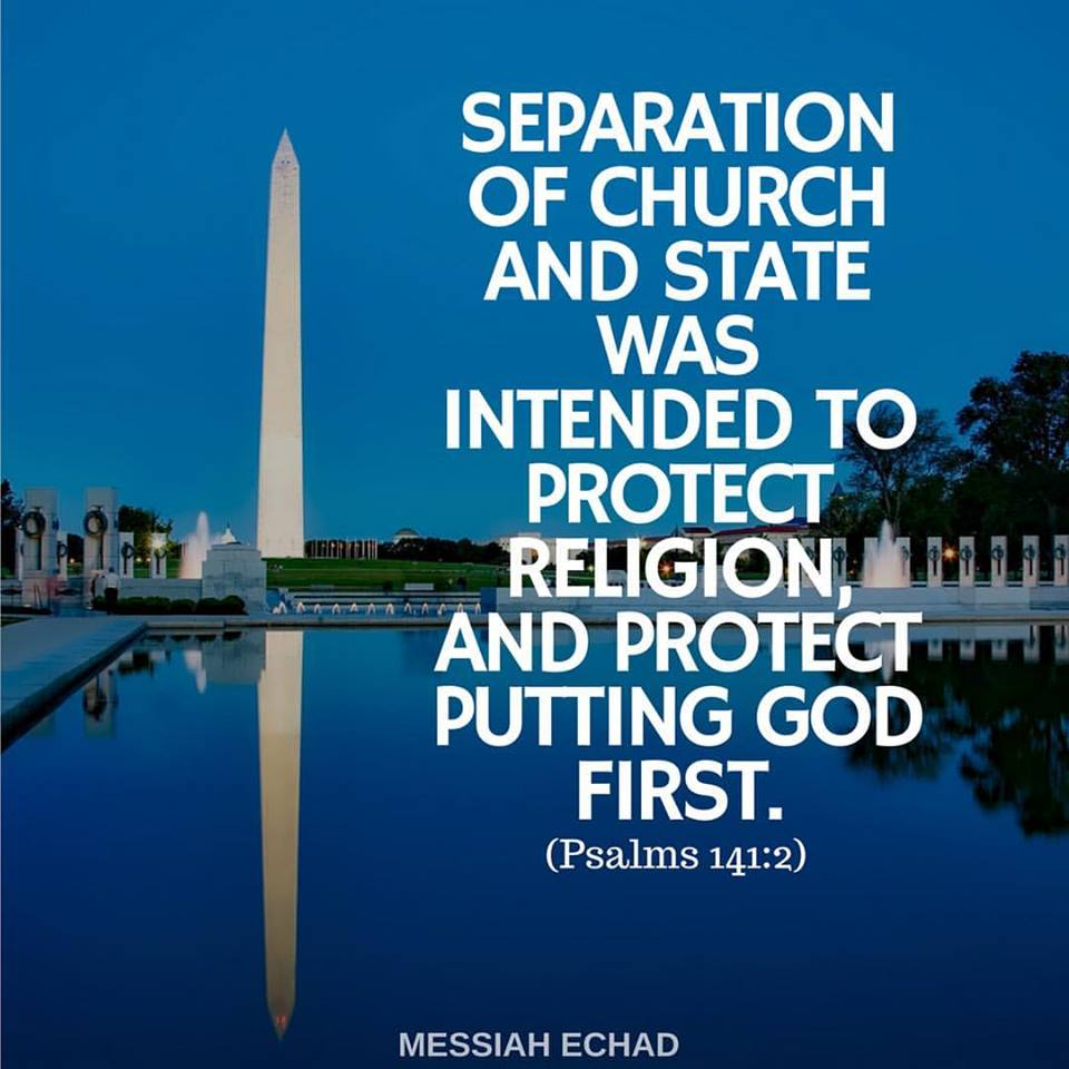 separation of church and state in Jefferson's letter to the danbury baptists  or prohibiting the free exercise thereof, thus building a wall of separation between church & state.