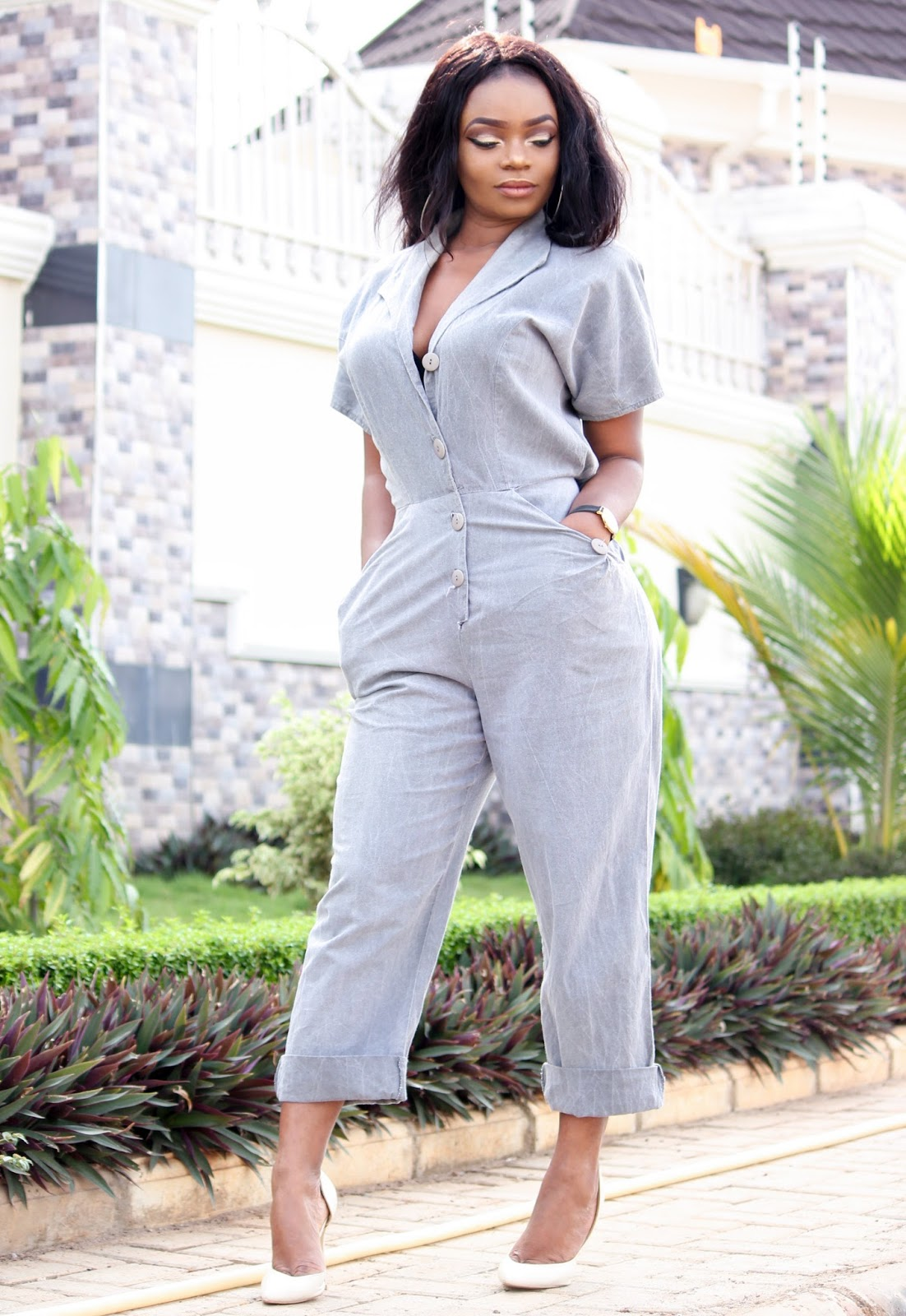 VINTAGE JUMPSUIT - Vintage Jumpsuit with Boohoo court shoes