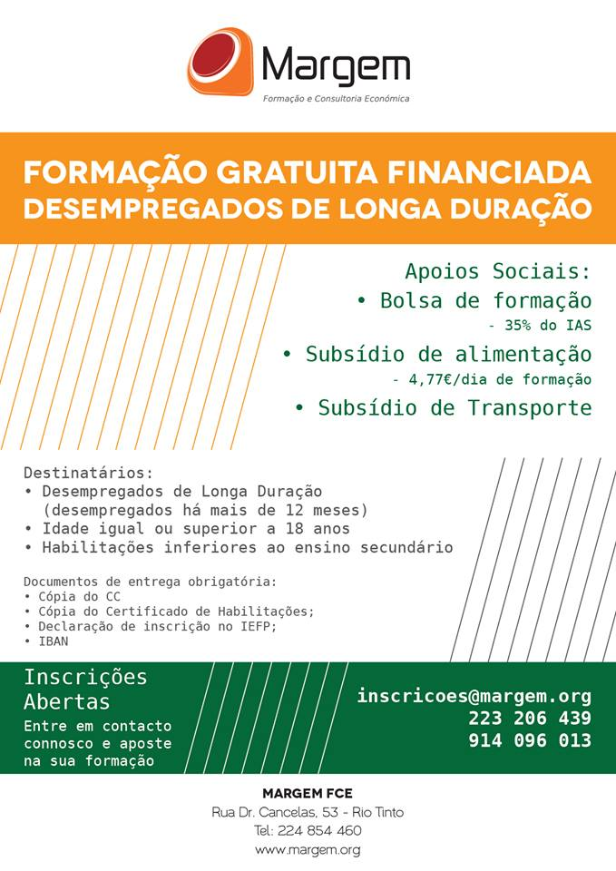 Formação financiada para desempregados Rio Tinto