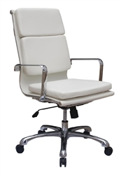 Chrome frame and white leather executive office chair