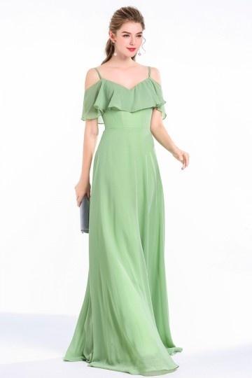 robe verte longue de soirée en mousseline pour mariage