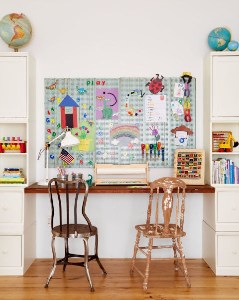 Charming playroom with vintage chairs and beautiful modern farmhouse style inspiration on Hello Lovely Studio