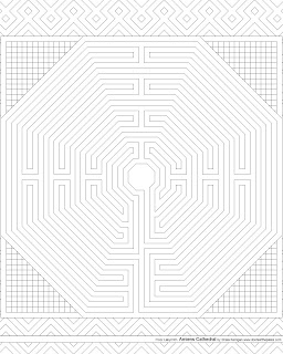 Amiens Cathedral floor labyrinth coloring page