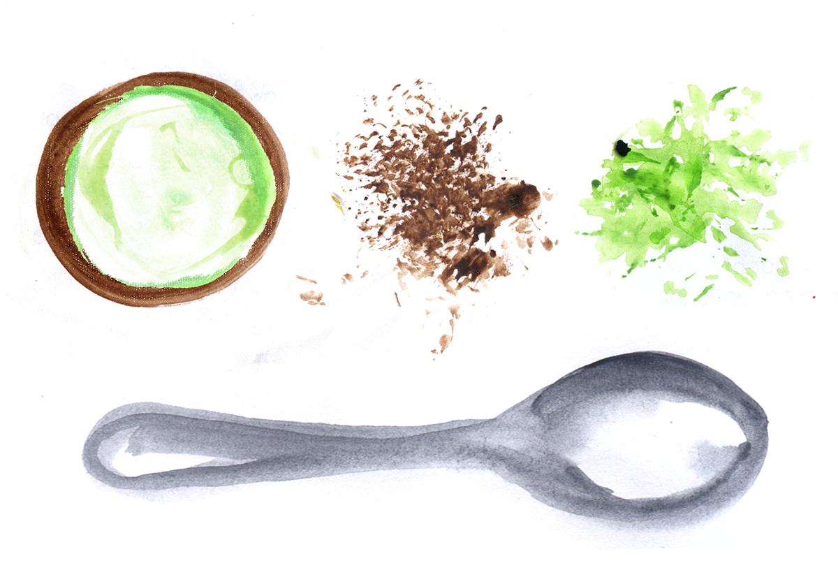 Mini Cacao Matcha Icebox Cakes, Lauren Monaco Illustration