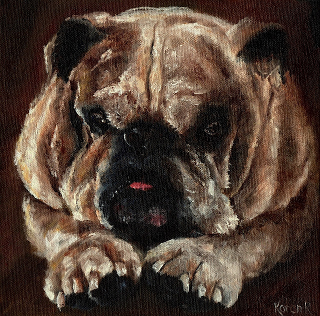 bull dog oil painting