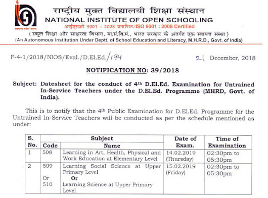 NIOS DELED EXAM DATE 508 509 510 IN 2019