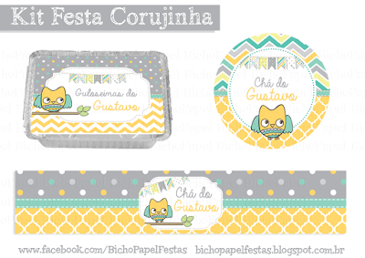 Kit Festa Corujinha cinza laranja verde amarelo branco