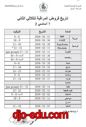 تاريخ فروض المراقبة للثلاثي الثاني السنة السابعة اساسي(تونس)