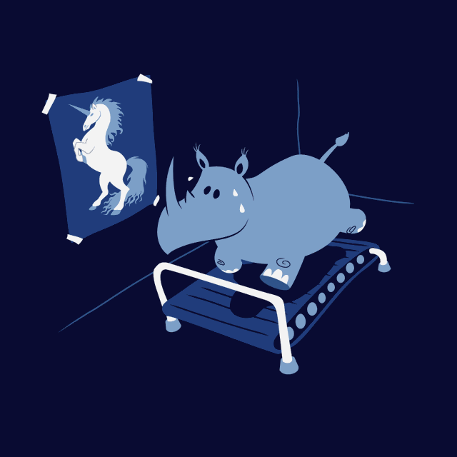 Are rhinos fat unicorns? -- Rhino working out on treadmill