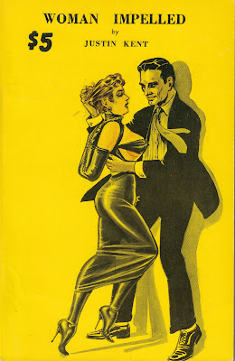 1950s paperback cover, man in suit hold woman in bondage dress