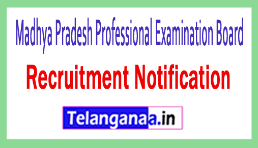 Madhya Pradesh Professional Examination Board VYAPAM Recruitment Notification