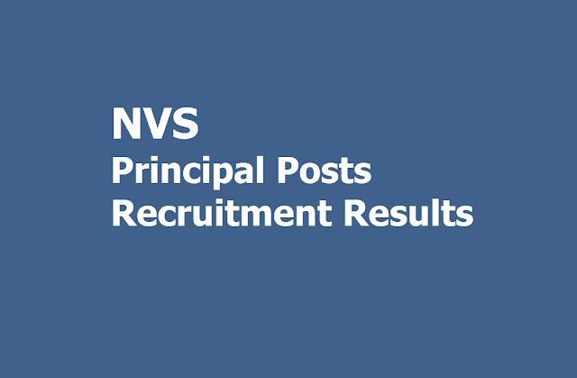 NVS Principal Posts Recruitment Results 2019 (Navodaya Vidyalaya Samiti Recruitment)